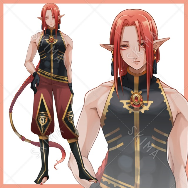 赤髪のエルフ耳青年