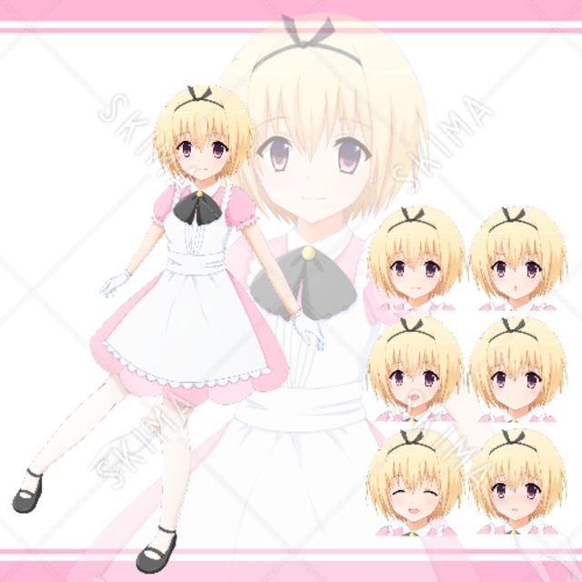 ピンク色なアリス風少女【表情6種】
