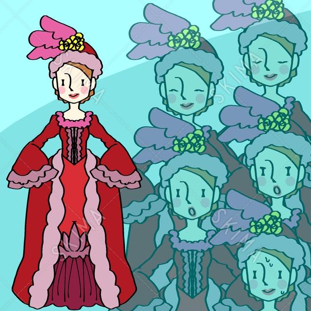 赤いドレスのご婦人