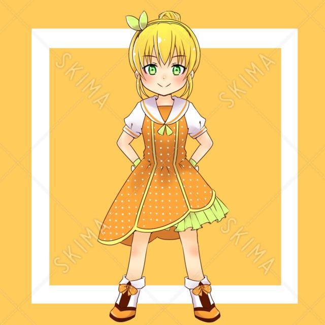 オレンジモチーフ 女の子