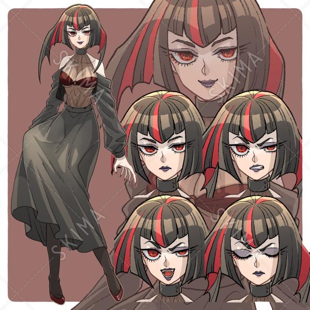 吸血鬼風女性(表情全5種)