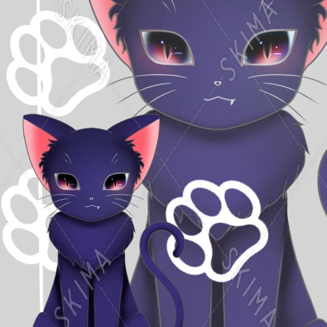 角の生えた黒猫(ノーマル付き)