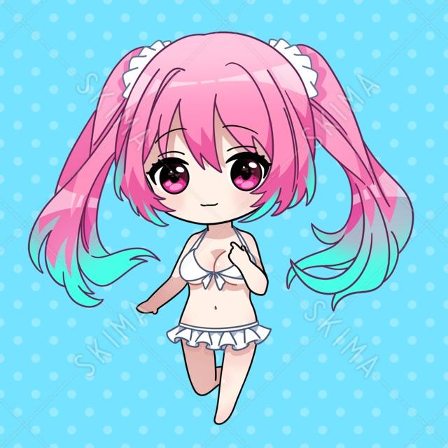 ピンク髪の水着少女♪