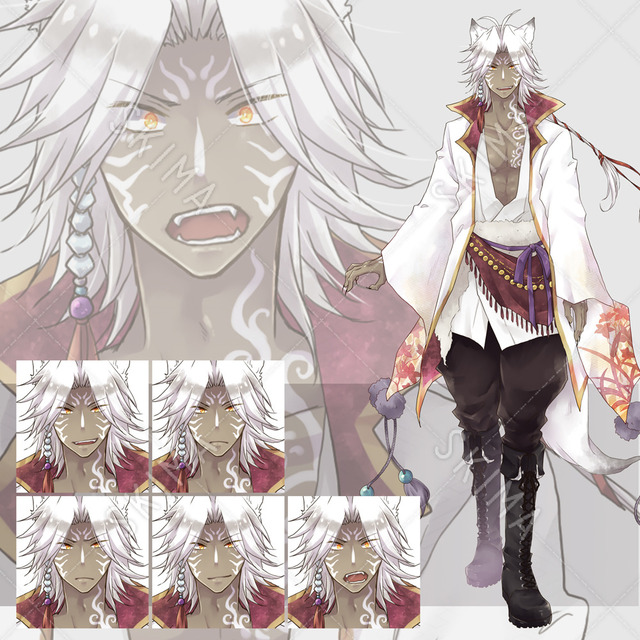 ≪和≫白狼キャラ 表情5種
