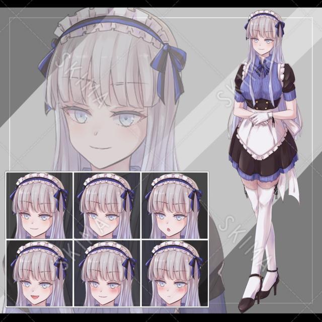 銀髪、メイド【表情6種】