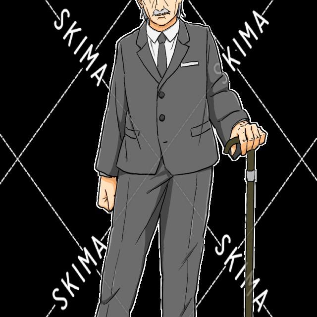ステッキを持った老紳士