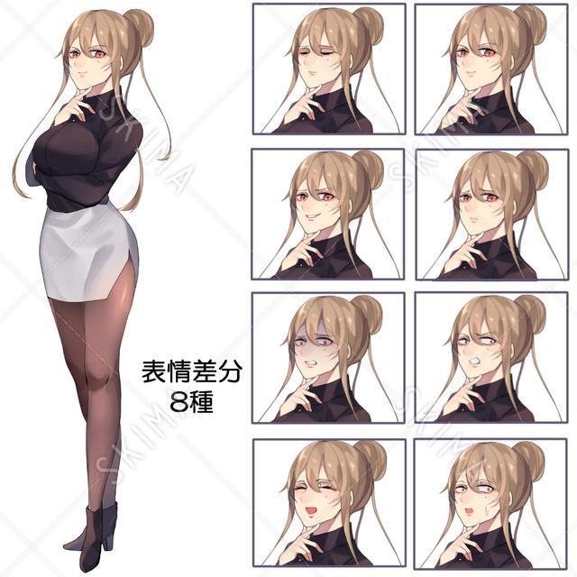 【値下げ】お団子ヘアーのお姉さん 表情差分8種 全身図