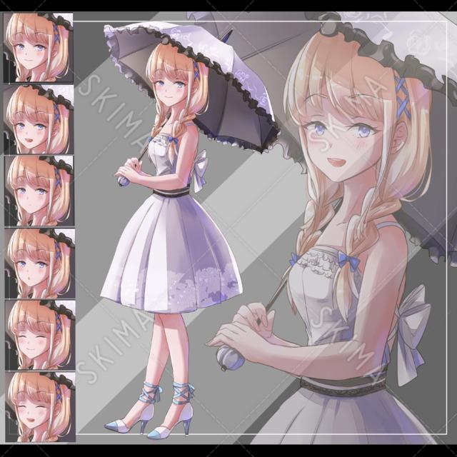 傘、白ワンピース、少女【表情6種・B5サイズ】