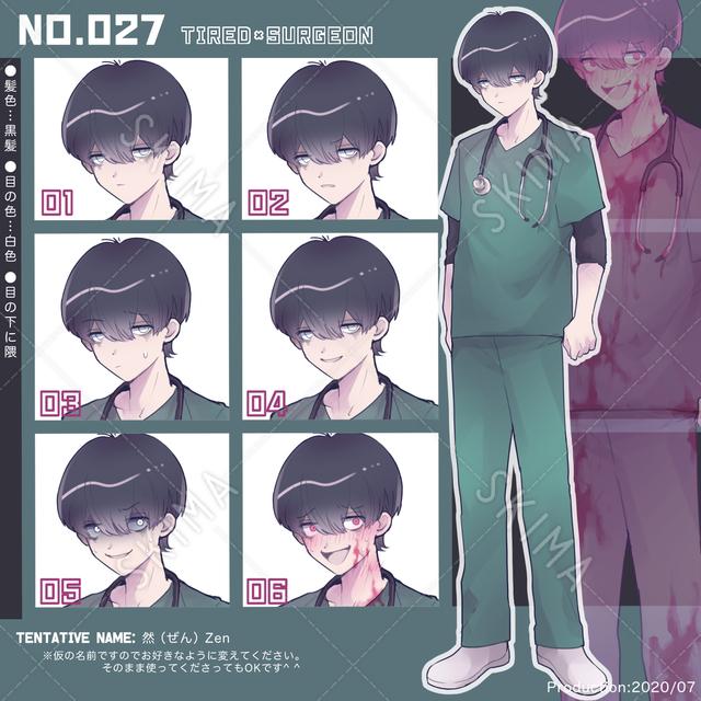 キャラクター027、目の下に隈な外科医の男性