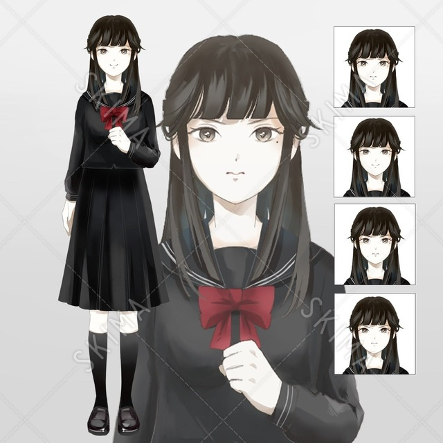 【お値下げ中】黒セーラー服(表情差分4種)