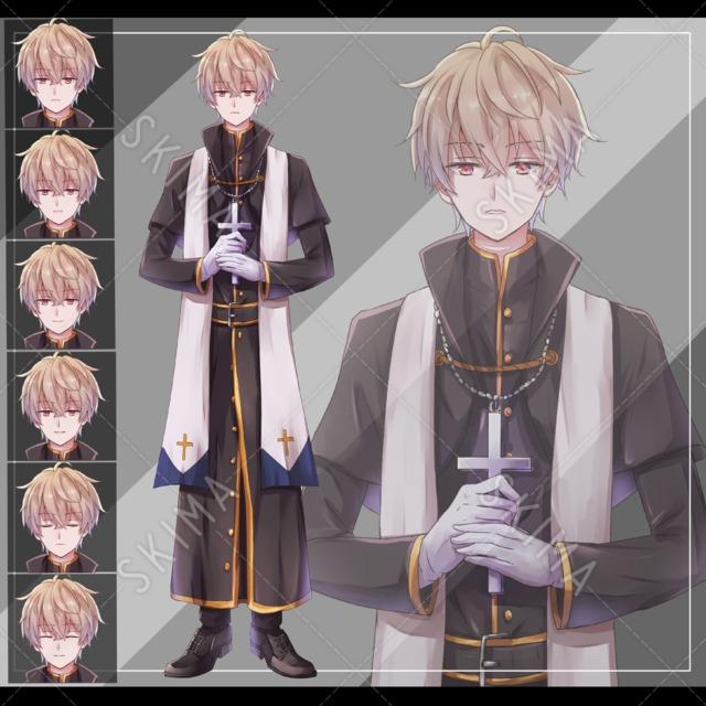 牧師、青年【表情6種・B5サイズ】