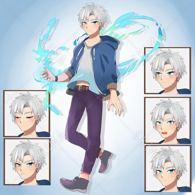 白髪青目男子 表情六種類