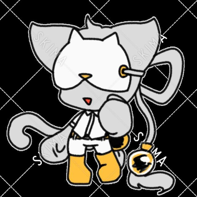 お面つけた白猫さん