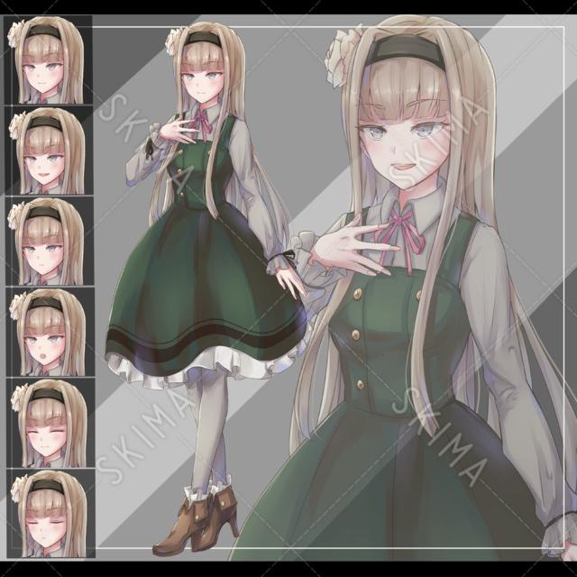 シックな女の子【表情6種・B5サイズ】
