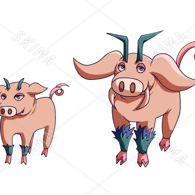 豚のようなキャラクター (第一形態、第二形態)