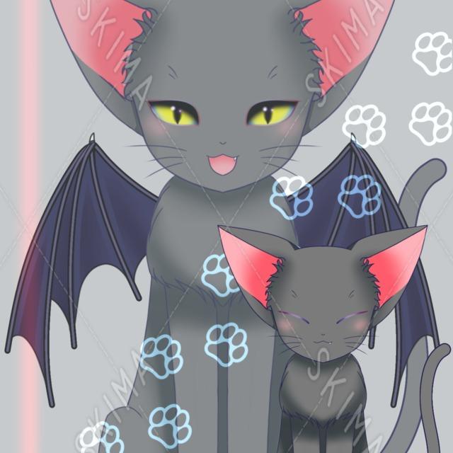 悪魔な猫(翼アリとナシの差分付き)
