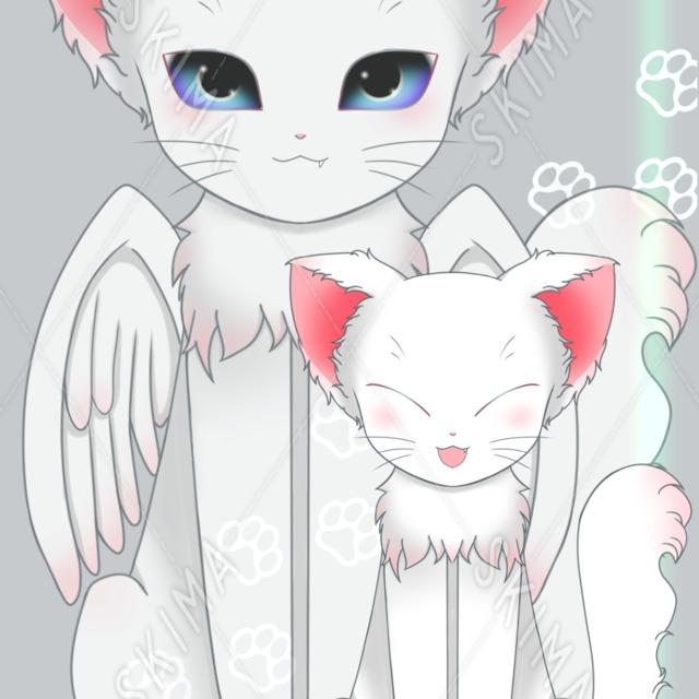 羽の生えた白猫(羽根なしあり)