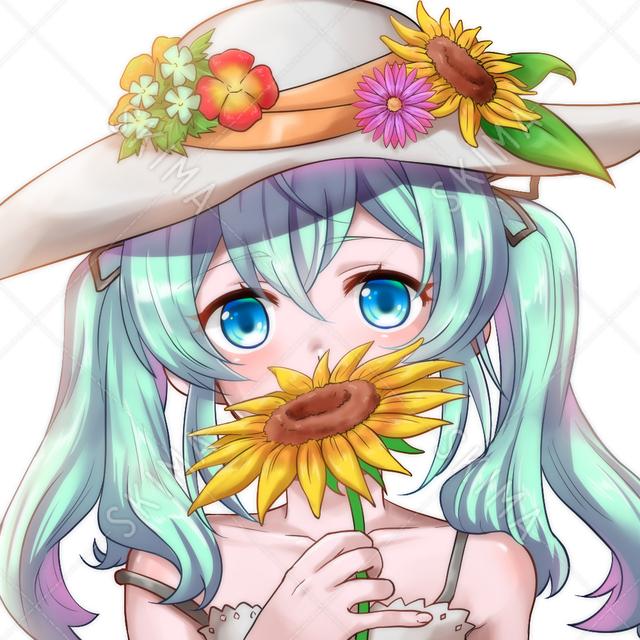 【値下げ9/15迄!】SNSアイコン 向日葵をもつ少女