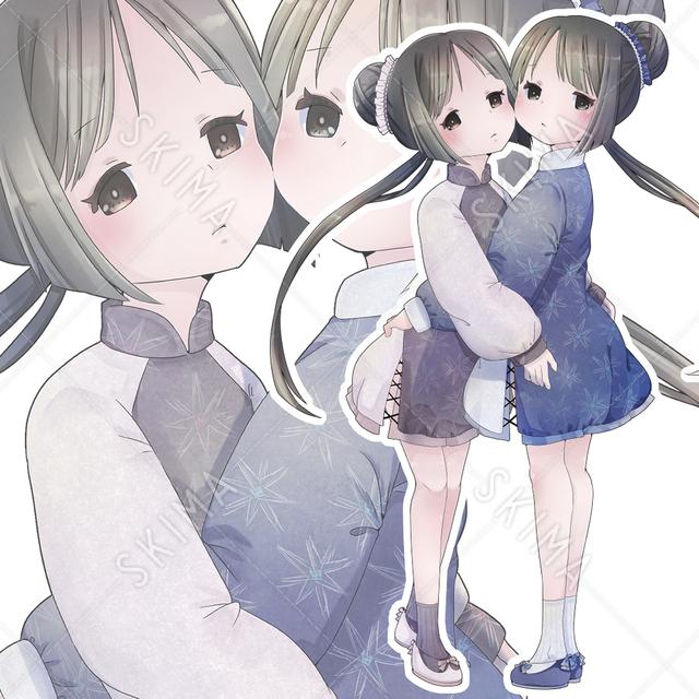 【単体・表情差分つき】双子コーデの双子ちゃん