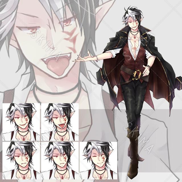 メッシュ髪の男キャラ 表情5種+上着差分