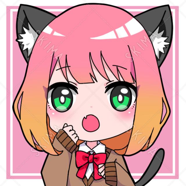 猫耳女の子☆アイコン(黒髪もあります!)