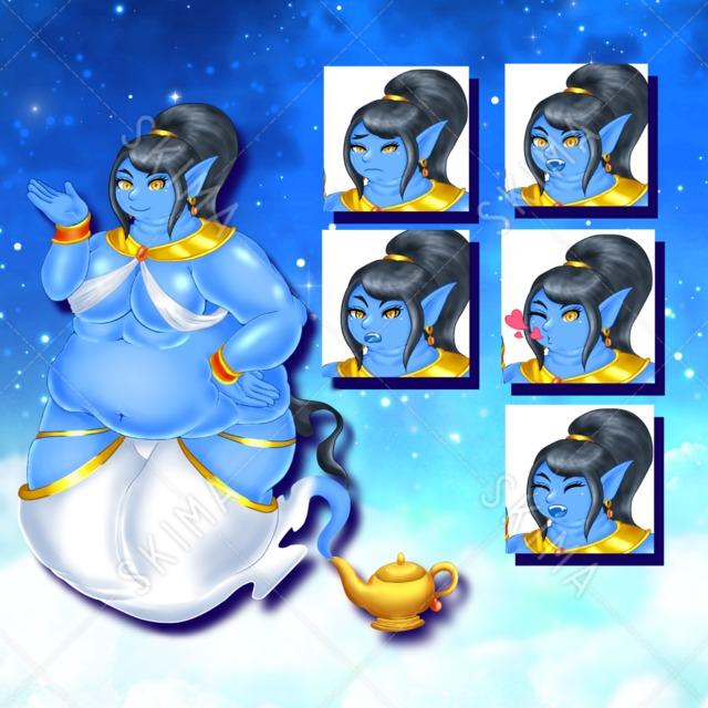 おデブなランプの魔人♀(表情差分5枚+ランプのみ)