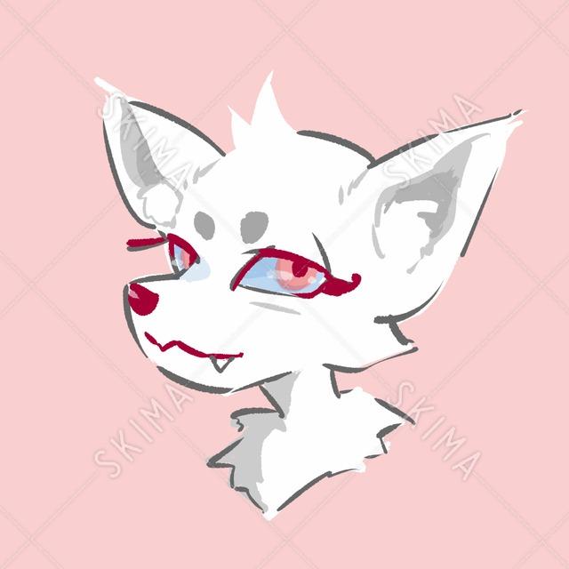 けもアイコン画(白狐)
