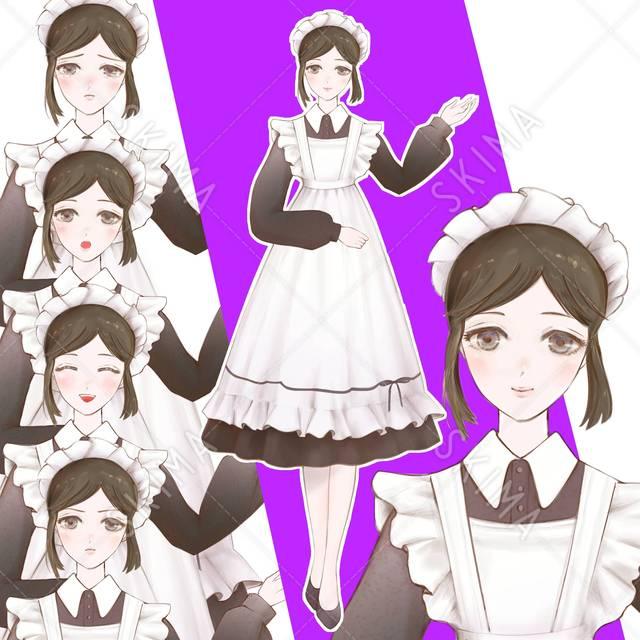 【背景透過/表情5種】メイドの女の子