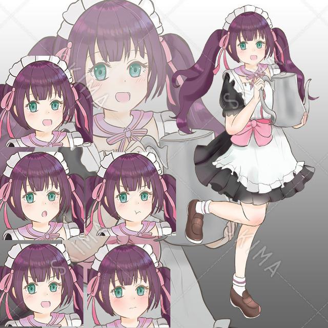 紫髪ツインテ メイドさん表情差分5種