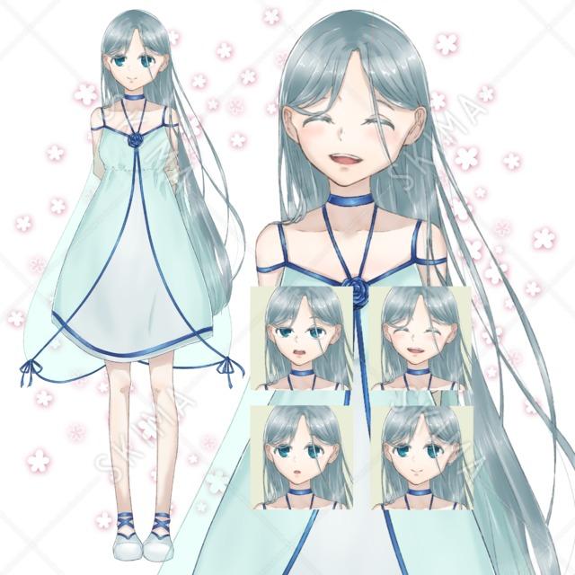 青と白のワンピースの少女(ファンタジー風)