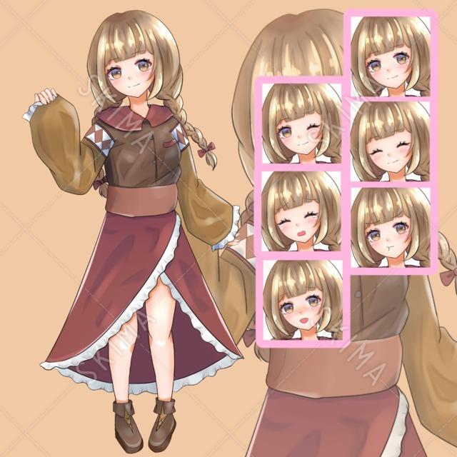 三つ編みの女の子(表情6