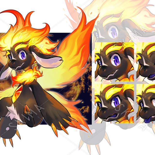 火の妖精(表情差分+羽なし立ち絵)