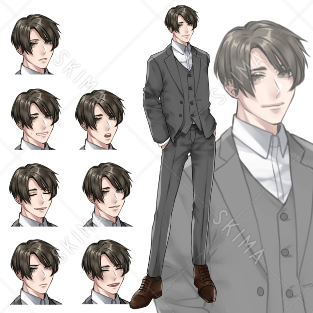 【立ち絵】スーツ【表情8種】