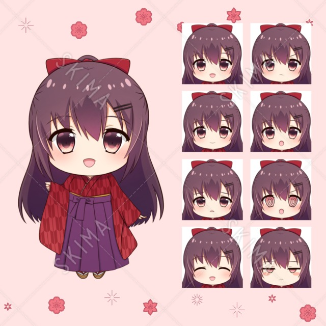 【デフォルメ立ち絵】袴の女の子【表情8種】