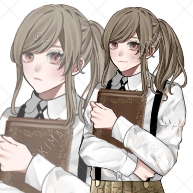 【立ち絵】本と少女【表情5種】