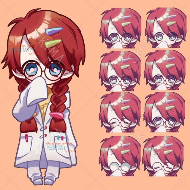 女の子+表情差分 白衣 眼鏡 三つ編み