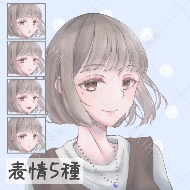 女の子アイコン【表情5種】