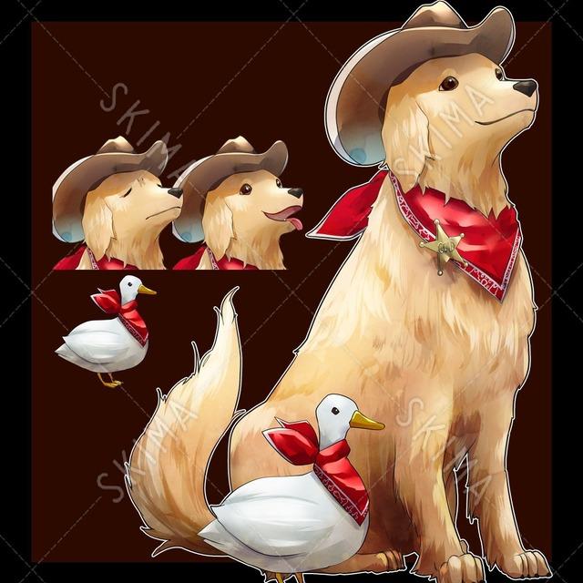 カウボーイ衣装の犬とおまけのアヒル【表情3種】