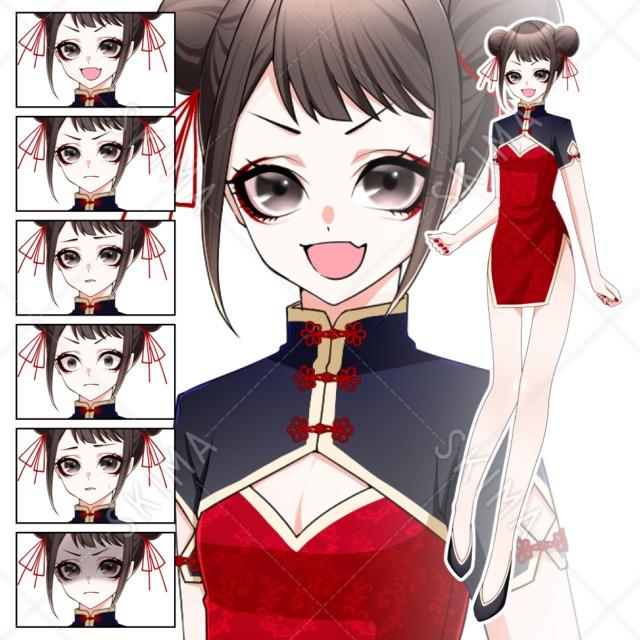 チャイナ服女の子【全身/表情差分6種】