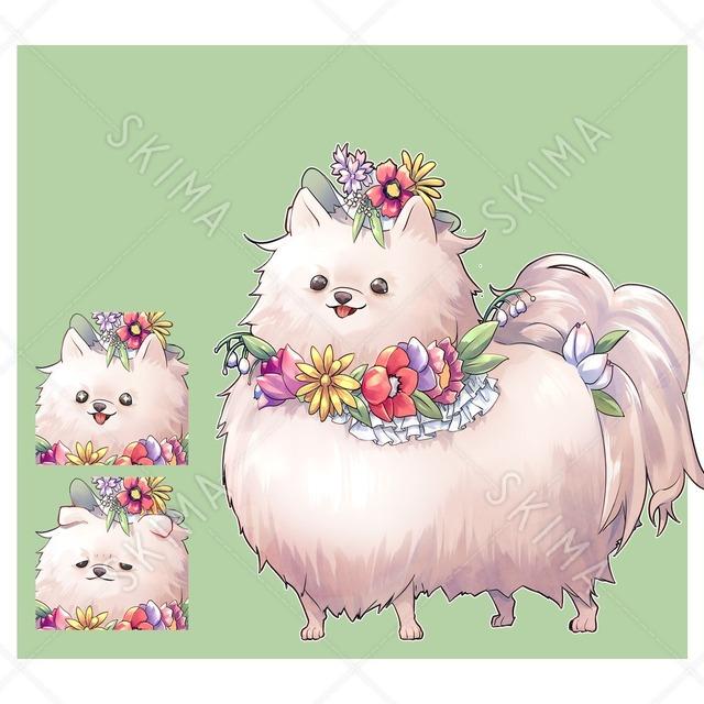 花を纏った犬【表情3種】
