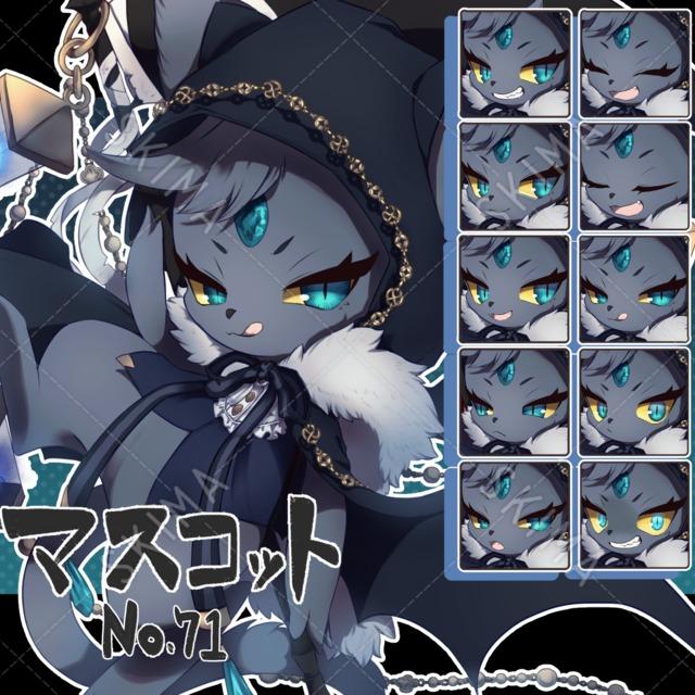 【マスコット風:71】紺色フードの死神猫