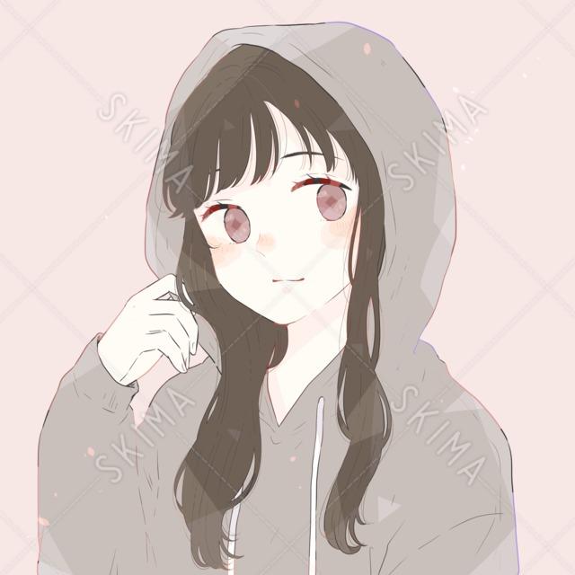 ゆるかわいい*黒髪パーカー少女のアイコン|表情・背景差分あり