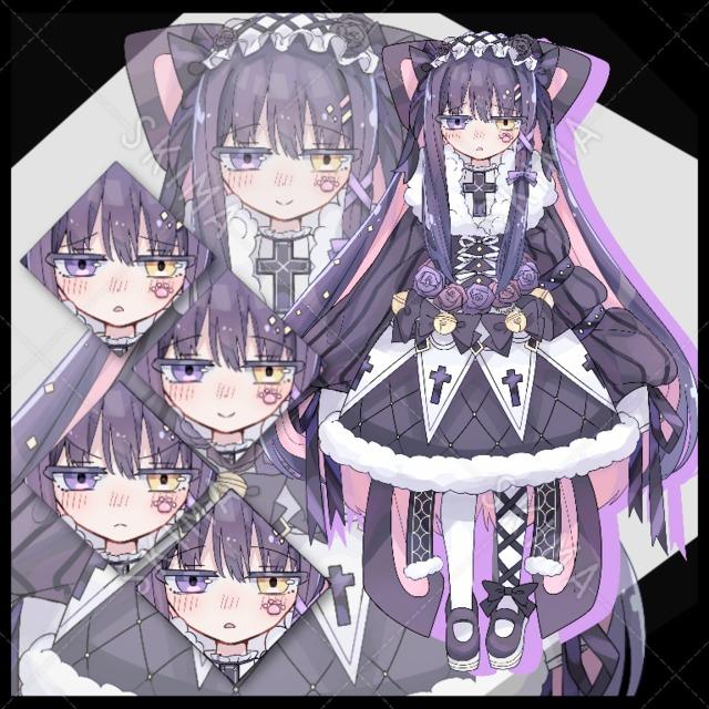 【全身立ち絵】猫耳ゴスロリお嬢様【差分4種】