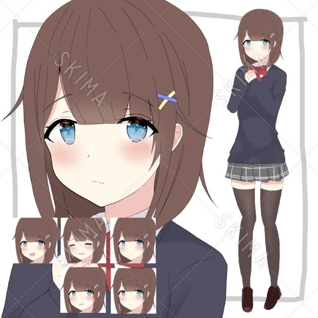 控えめな女子高生【表情5種】