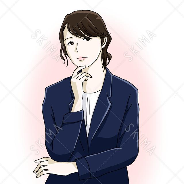 考える女性、スーツ姿、会社員