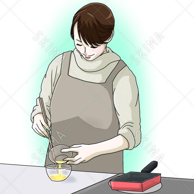 料理をする女性、お母さん、主婦