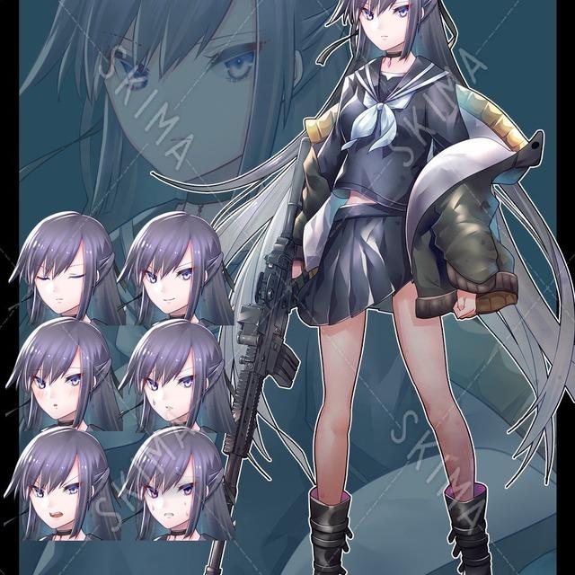 銃器を持った制服少女1【表情7種】