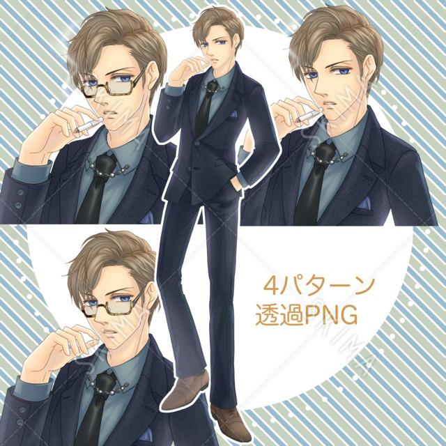 スーツの男性/タバコと眼鏡