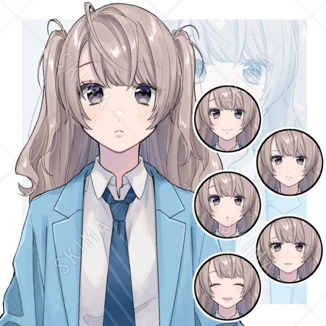 ハーフツインの女の子(表情差分6種)