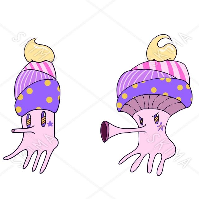 ピンクの巻貝風キャラクター (第一形態、第二形態)